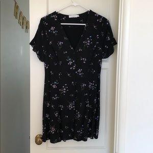 Button up black floral v-neck dress